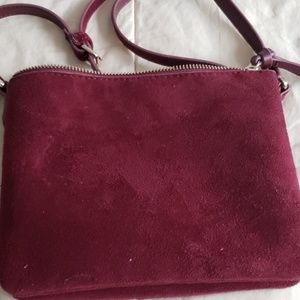 Burgundy faux suede bag